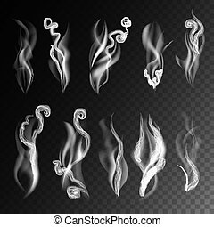 Smoke realistic 3D vector icons on transparent background....