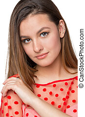 Portrait of a sexy young girl on white Studio background