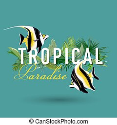 Tropical Palm Leaves and Exotic Fish Graphic Design for Tshirt, Fashion, Prints in vector