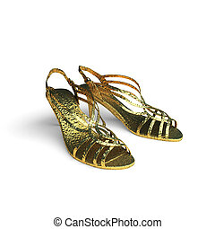 isolated golden shoes