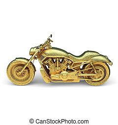 isolated golden motorcycle