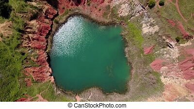 Bauxite Quarry Lake in Otranto, Italy - Bauxite Quarry Lake...