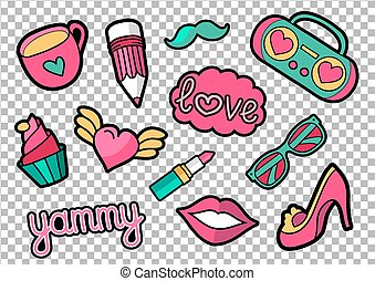 Vector colorful quirky patches set. Pin trendy decoration labels for denim and textile. Vintage hippie style badges.