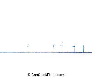 Wind power turbines, coastal placement, with white sky and...
