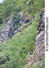 Landslide risk near porous rock walls in Bindal in Nordland,...