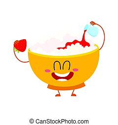 Smiling cottage cheese bowl character pouring strawberry jam...