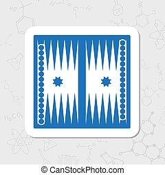 Vector flat icon - Vector flat sticker backgammon table with...