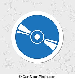 Compact disc icon - Vector flat sticker compact disc icon on...