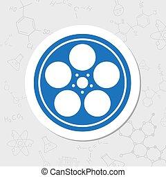 Bobbin flat icon - Vector flat sticker retro bobbin icon on...