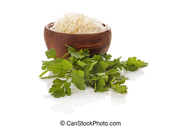 Grated horseradish with parsley. - Fresh grated horseradish...