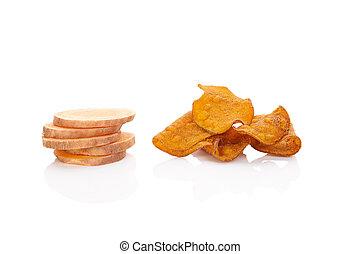 Batata potato chips. - Batata potato chips isolated on white...