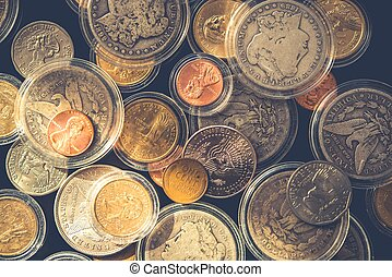 Plenty of Collectible Coins in Closeup Photography. Vintage...
