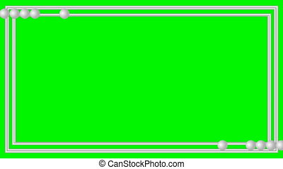Video frame silver metallic strips with small moving balls on green matte, lower thirds animated