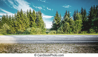 Beautiful highway road. Summer day landscape background