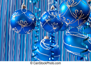 Blue balls - Christmas background from blue balls. studio...
