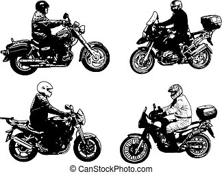 four sketch motorcyclists illustration