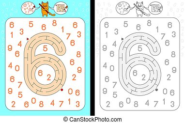 Maze number 6 - Worksheet for learning numbers - recognizing...