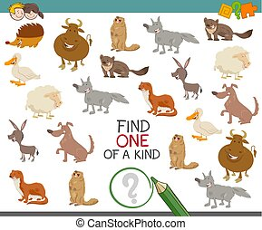 find one of a kind with animals - Cartoon Illustration of...