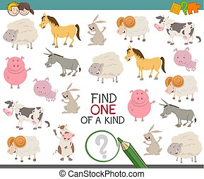 find one of a kind for children - Cartoon Illustration of...