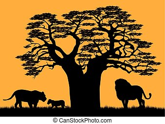 A lion and a lioness near the baobab..eps - A lion and a...