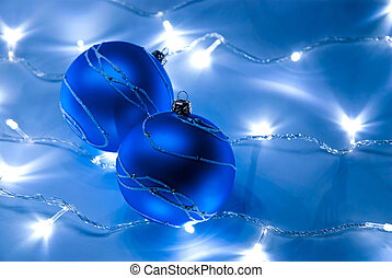 Blue balls - Two blue christmas balls with white garland