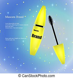 Cosmetic Advertising Banner, Catalogue, Poster, Yellow mascara with brush on a light background with sparkles. Packaging Design, Product Promotion. 3D vector illustration.