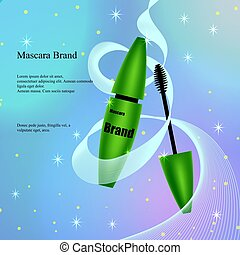 Mascara with brush in green, a poster, a banner on a light delicate background with patches and sequins