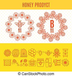 Set of icons an apiary and beekeeping in a linear style.
