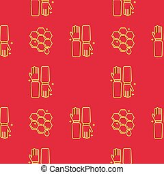 Gloves beekeeper in the apiary and honeycomb. Seamless pattern