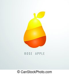 Rose Apple Fruit colour gradation Yellow. orange. red....