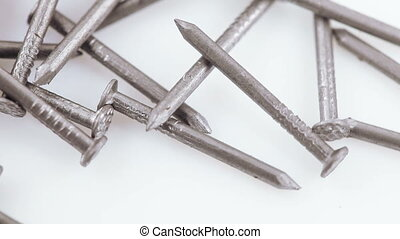 Iron nails for furniture - White plastic staples with nails...