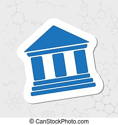 Vector flat icon - Vector flat sticker building icon on...