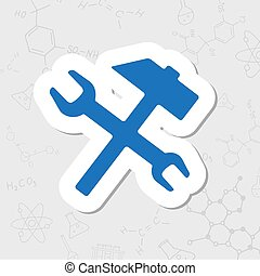 Vector flat icon - Vector flat sticker hammer and wrench...