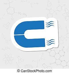 Vector flat icon - Vector flat sticker magnet icon on white...
