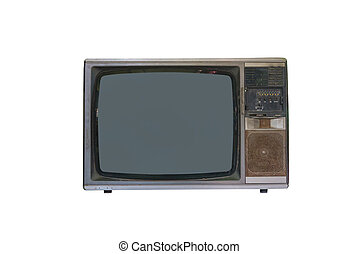 vintage tv or television isolated on white background
