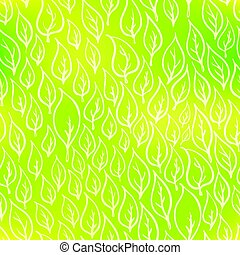 Hand-drawn leaves on green, eco seamless pattern