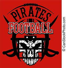 pirates football team design with skull and face mask for...