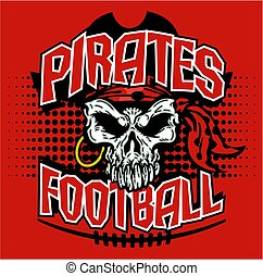 pirates football team design with skull face and dots for...
