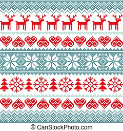 Winter, Christmas red and grey seamless pattern, Nordic...
