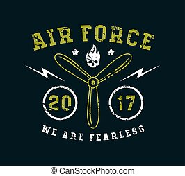 Air force emblem. Graphic design for t-shirt. Color print on...