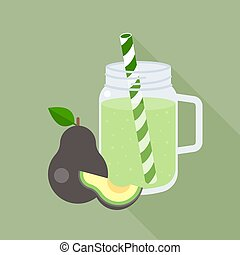 avocado smoothie in mason jar with long shadow