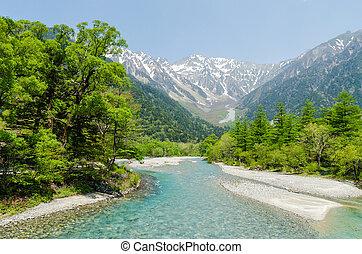 Hotaka mountain range and azusa river in spring at kamikochi...