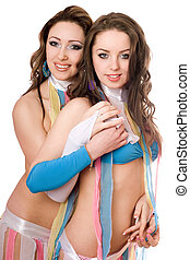 Portrait of two pretty women. Isolated