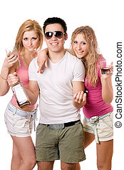 Two beautiful blonde woman and young man with a bottle