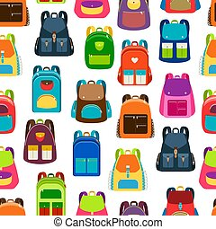 School cartoon pattern with colorful backpacks - School...
