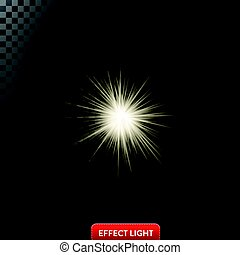 Vector illustration of a glowing light effect with rays and...