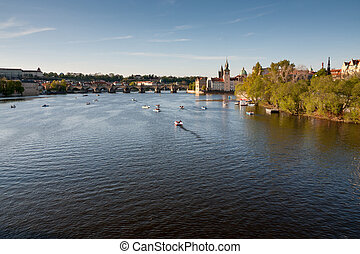Vltava river in Prague before sunset