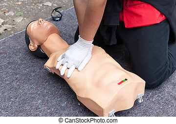 CPR. First aid training concept. Cardiac massage.