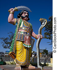 Statue of Demon Mahishasura on Cham - Mahishasura Mardhini,...