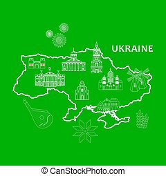 the ukraine set - Illustration in the style of a flat design...